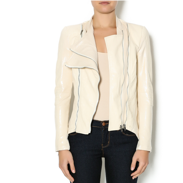Washed Crepe Vegan Leather Jacket With Zipper Detail