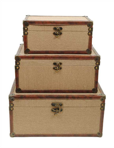 "17""L Canvas Covered Trunks, Khaki"