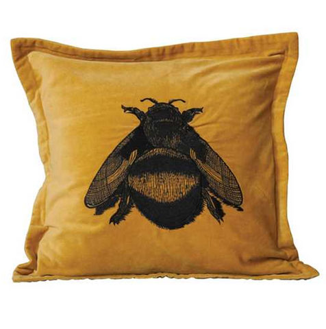 "20"" Square Cotton Velvet Pillow w/ Bee Embroidery"