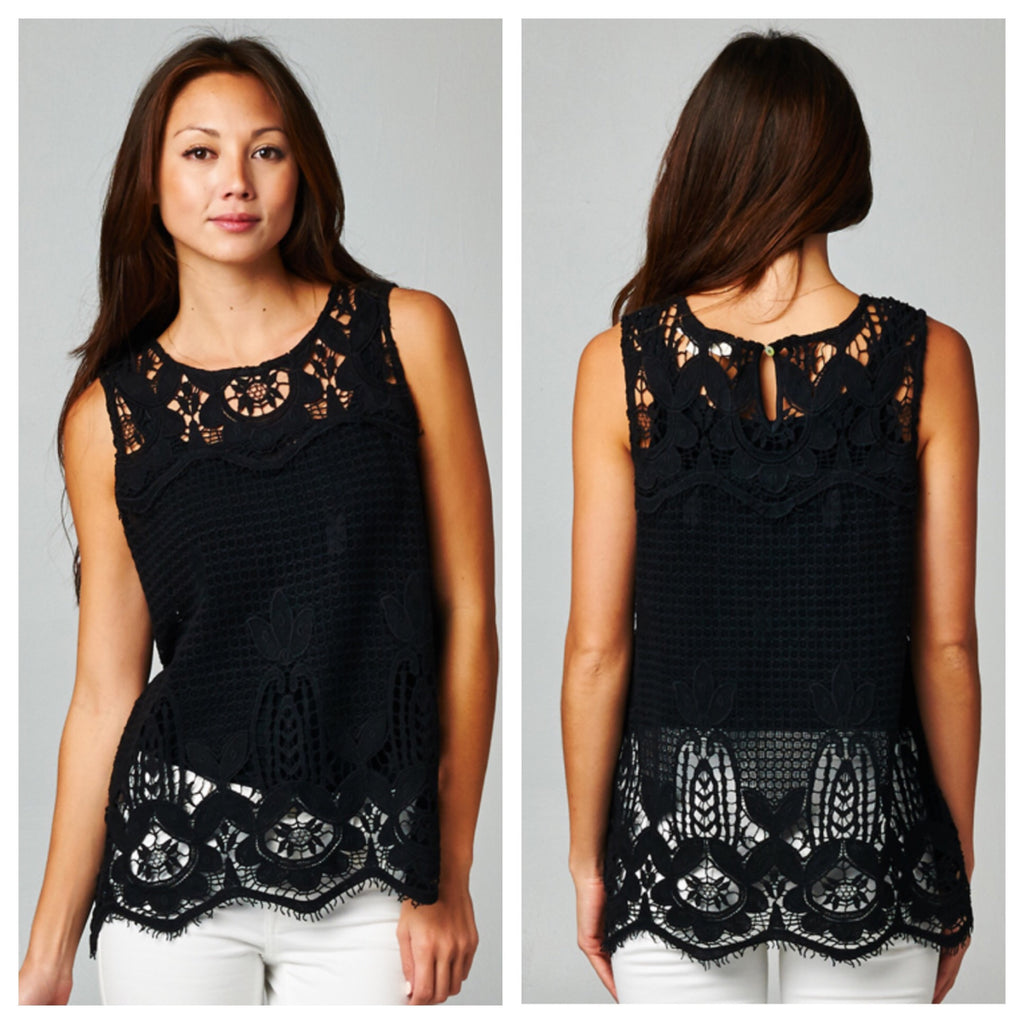 Black Crochet and Netted Tank