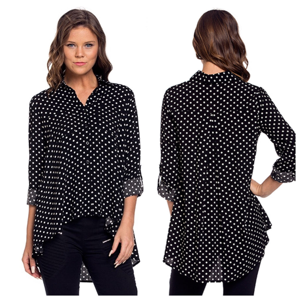 Polka Dot High Low Blouse