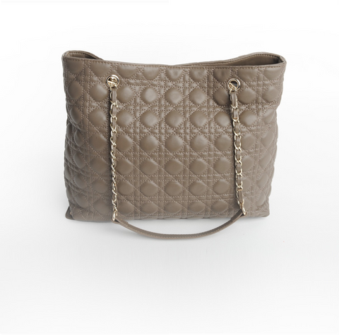 Lambskin Leather Quilted Tote