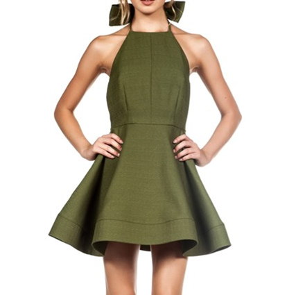 Solid Bow Flare Dress