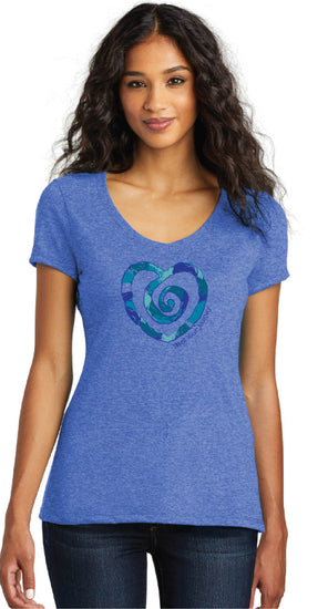 Multi Heart Short Sleeve Tee-Blue - Trust Your Journey