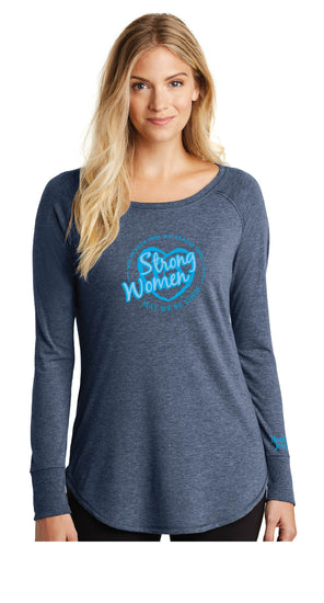 Strong Women Long Sleeve Tunic-Navy - Trust Your Journey