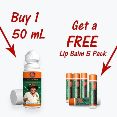 Outback 50mL Roll-On & Free Lip Balm 5-Pack