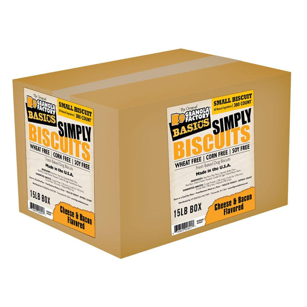 K9 Granola Factory Simply Biscuit Cheese & Bacon, Small, 15-lb box