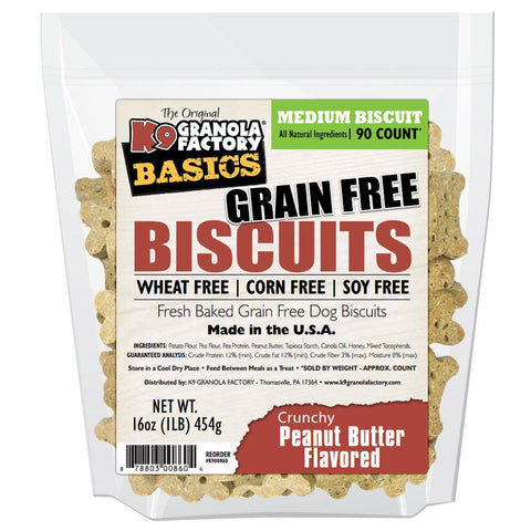 K9 Granola Factory K9 Granola Factory Grain Free Simply Biscuits Crunchy Peanut Butter, Medium, 16-oz bag