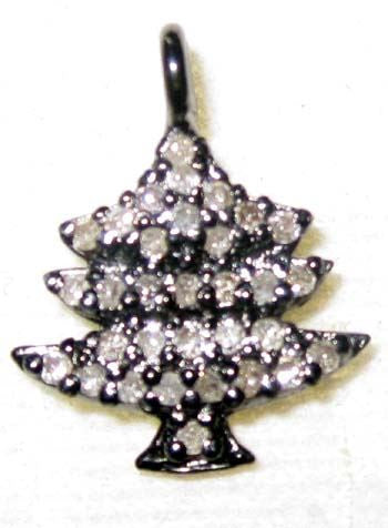 Christmas Tree Silver Diamond Charm