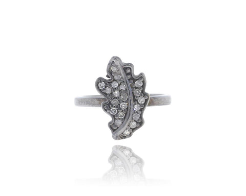 Leaf Shape Silver Diamond Ring