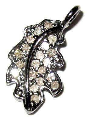 Leaf Shape Silver Diamond Charm