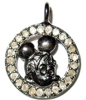 Micky Mouse Rounded Silver Diamond Charm