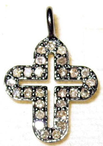 Cross Silver Pave Diamond Charm
