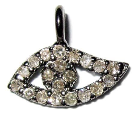 Eye with Ball Shape Silver Pave Diamond Charm