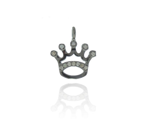 Crown Silver Diamond Accent Charm