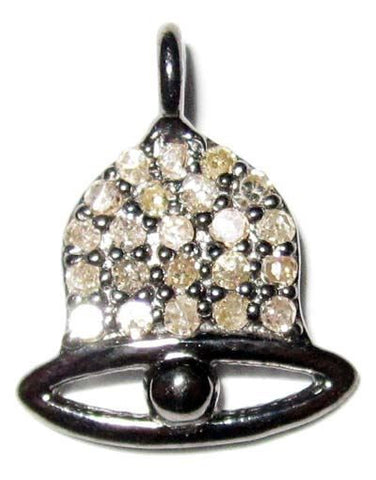 Christmas Bell Pave Diamond and Silver Charm