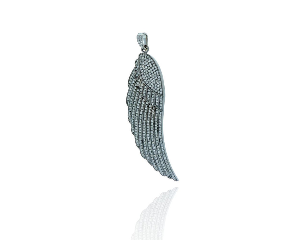 Angel Wings Pave Diamond and Silver Pendant