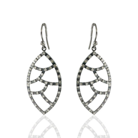 Open Oval Drop Diamond  EARRINGS