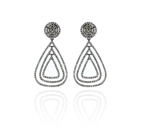 Diamond Open Drop Earrings