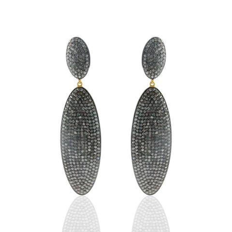 Long Oval Drop DIAMOND  EARRINGS