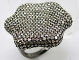 Rounded Craved Hexagon Diamond Ring