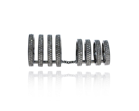 Multi Band Linked Pave Diamond and silver ring