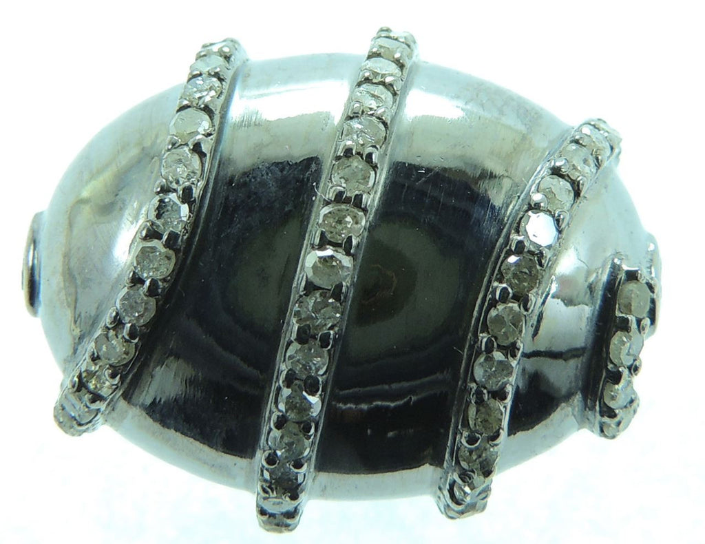Diamond Accent Oval Shape Beads in Silver