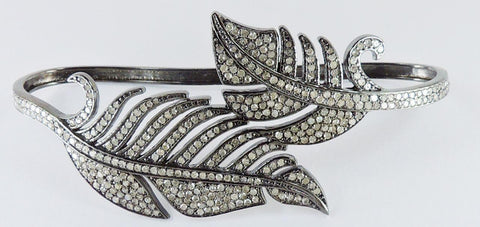 Double Feather Diamond and Silver Bangel
