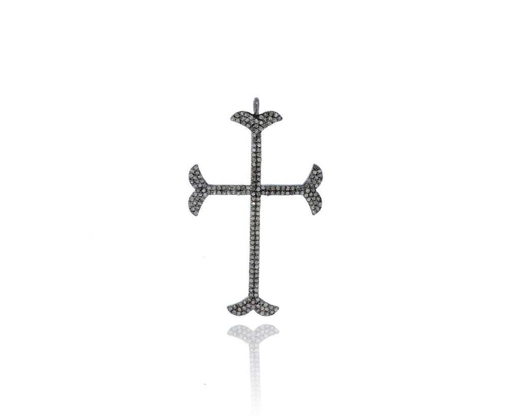 Cross Silver Pave Diamond Charms
