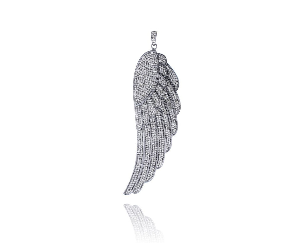 Angel Wing Silver Diamond Pendant