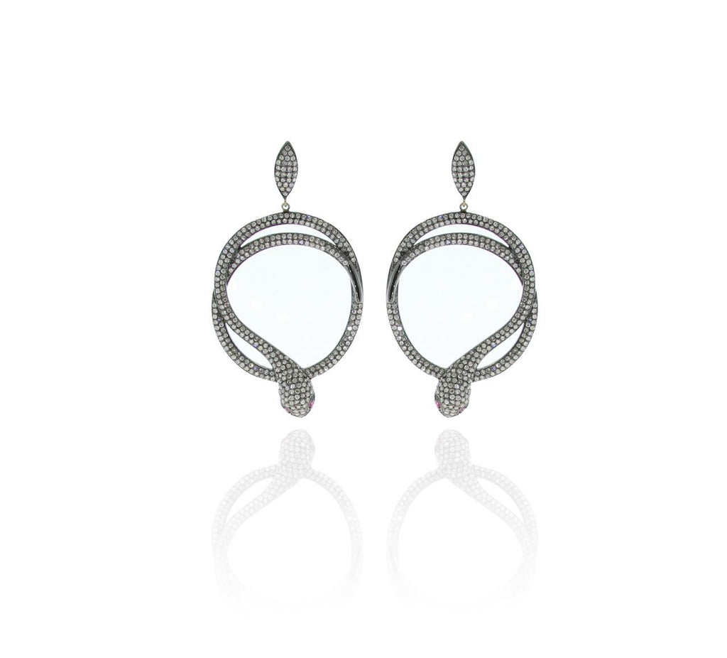 Snake Pave Diamond and Silver Earrings