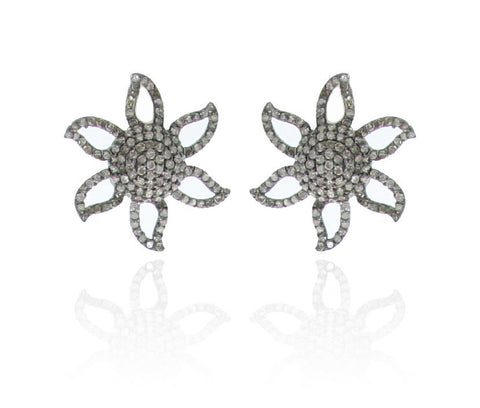 Flower pave Diamond and Silver Earrings
