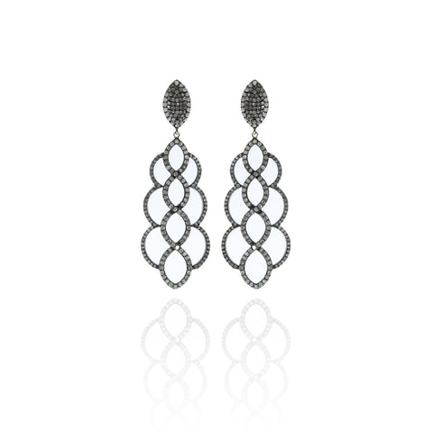 Diamond Silver Pave Earrings