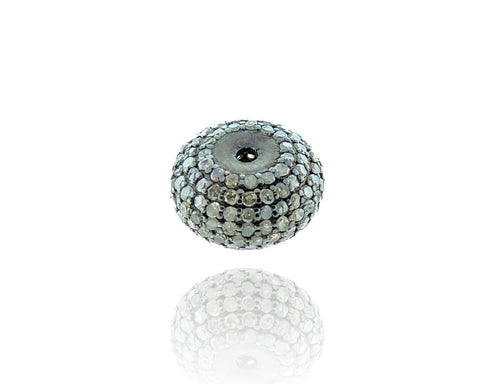 Blue Sapphire Faceted Stone and Sterling Silver Pave Beads