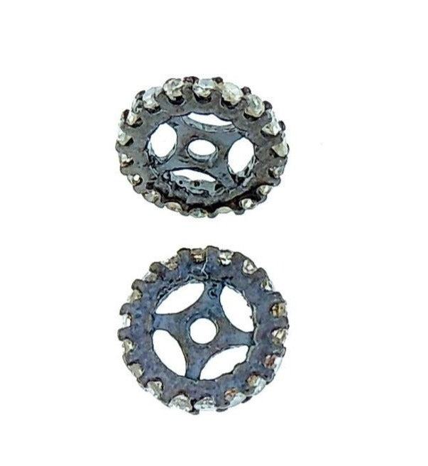 Wheel Shape Spacer Pave Diamond Beads