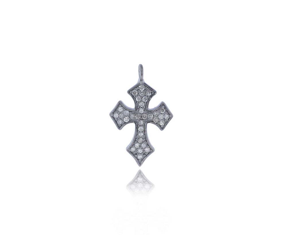 Cross Shape Pave Diamond Charm