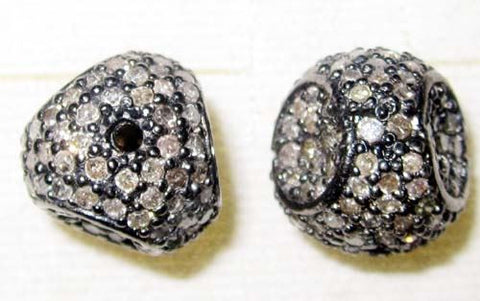Fancy shape silver pave diamond beads