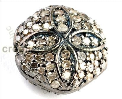 Fancy Carved Flower Design Pave Diamond Beads