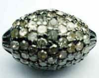 Silver Pave Diamond Beads