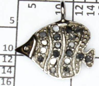 Diamond Leaf Shape Peace Pendant, Pave Diamond Pendant, Pave Leaf Shape Necklace, Approx 13 x 13mm. Sterling Silver