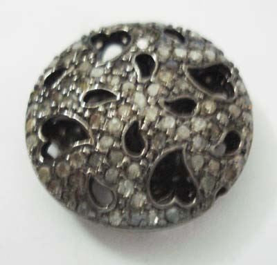 Coin Shape Filgree Pave Diamond Beads