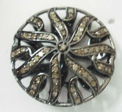 Coin Filgree pave diamond beads