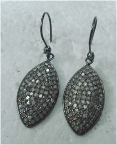 Silver and Diamond Pave   Silver EARRINGS