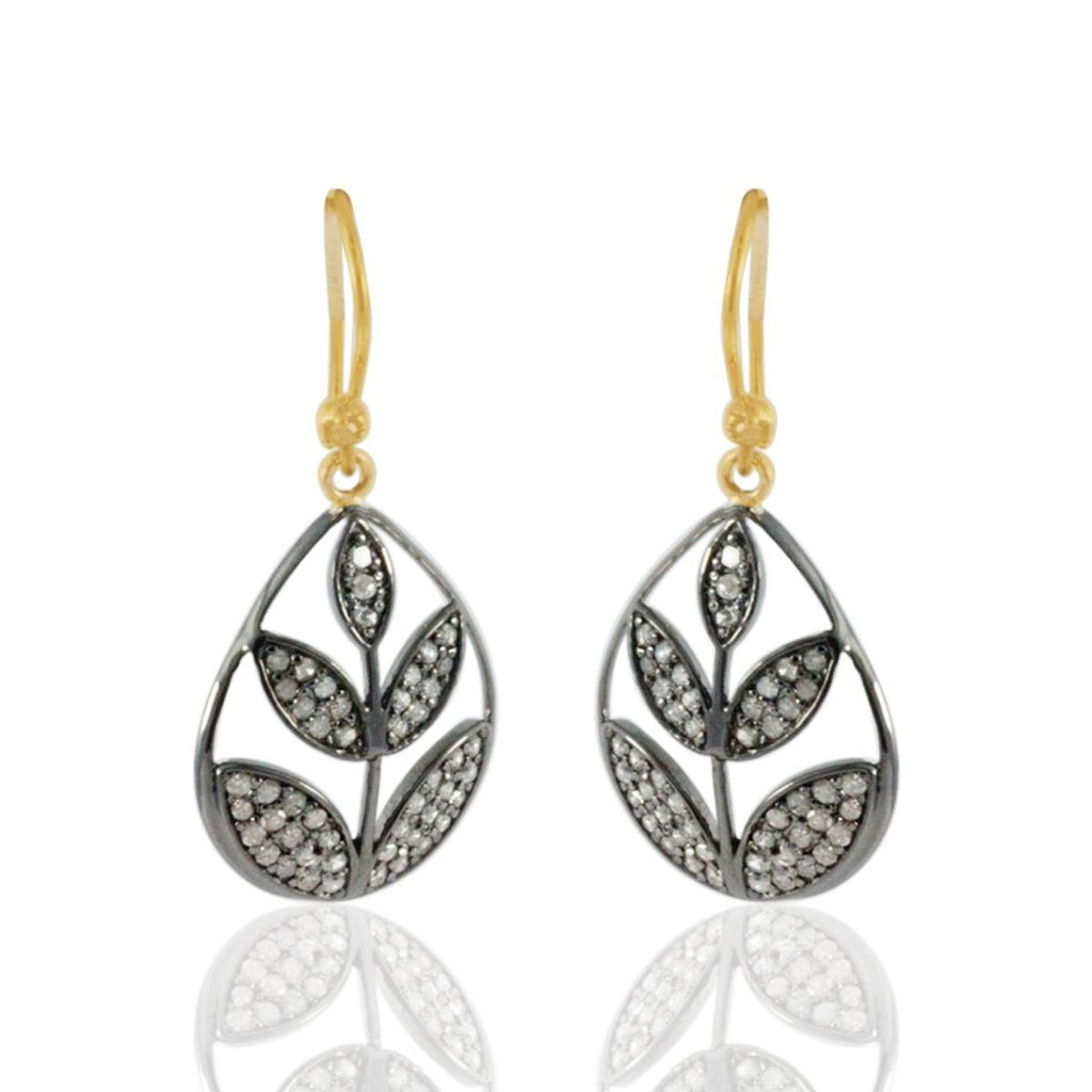 Leaf Shape Pave Diamond Earring