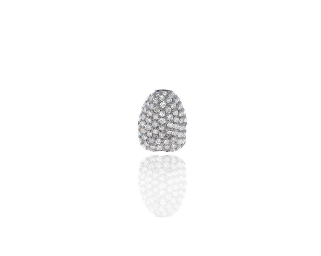 Nugget Shape silver pave diamond beads