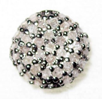 Coin Shape Pave Beads in Diamond and Gemstone