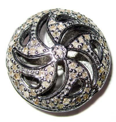 Coin Shape Filgree Silver Diamond Pave Beads