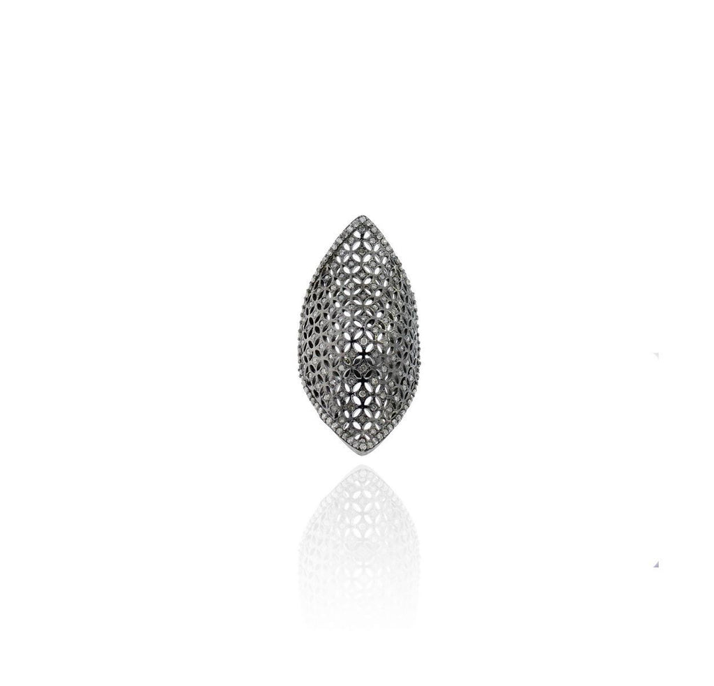Marquise Shape Filgree pave Diamond silver rings