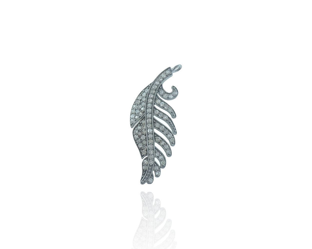 Feather Diamond and Silver pendant