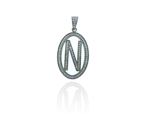 Initial N Oval Diamond and Silver Charms